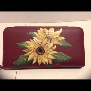 Handbags - Painted wallet, red, new, sunflowers